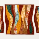 Rust Maroon Teal Triptych