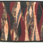 Maroon Peach Waves Art Quilt