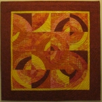 Orange Rust Circles Art Quilt