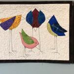 CUSTOM triptych of silly birds