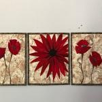 CUSTOM Red Flowers Triptych
