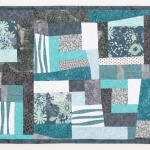 Grey Teal Abstract Art Quilt