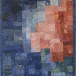Peach Blue Sun Art Quilt