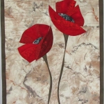 Red Poppies on Cream 1