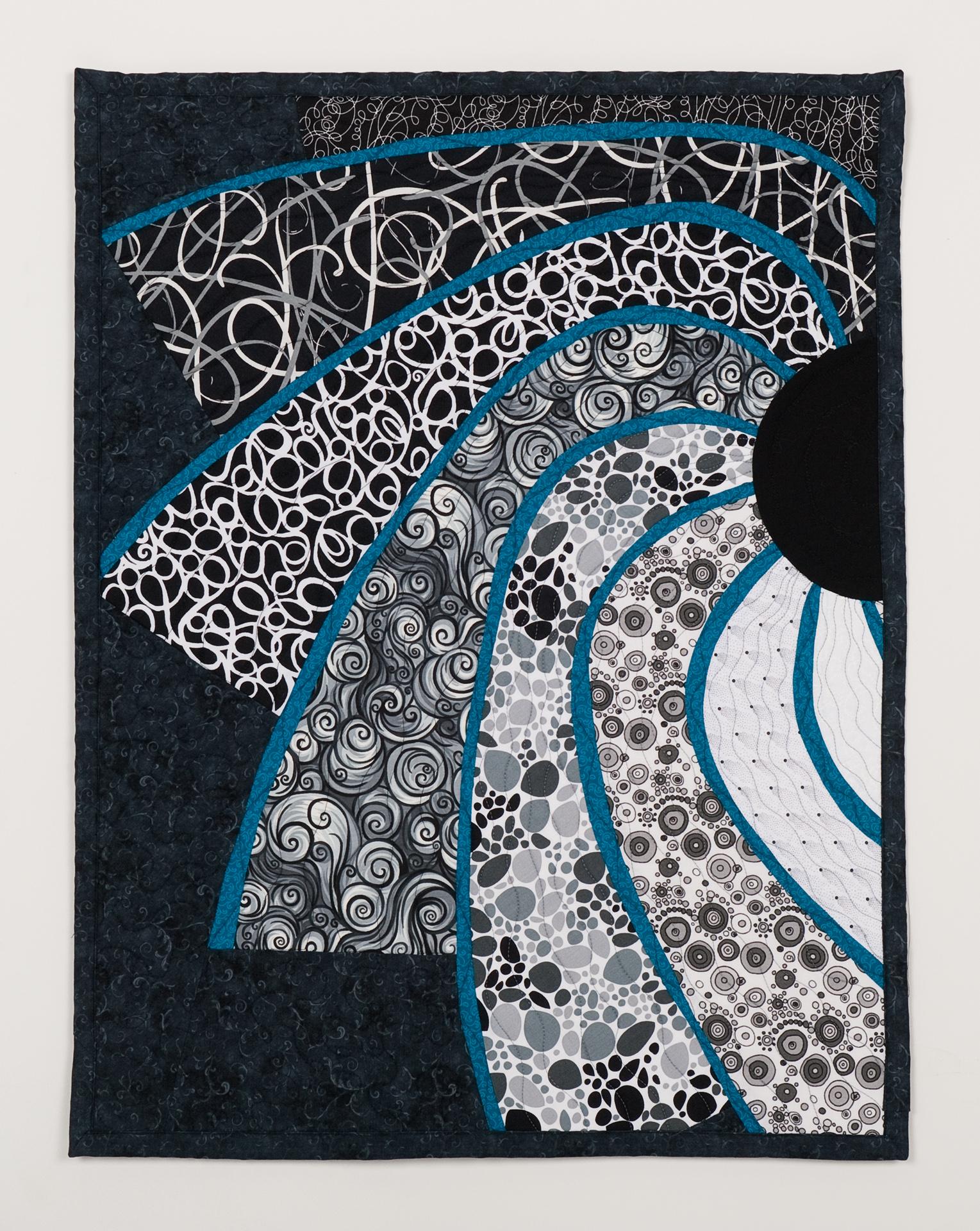 Black white turquoise sun art quilt