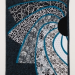 Black White Turquoise Sun Art Quilt