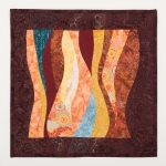 Fancy Stitched Warm Curves Art Quilt
