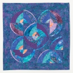 Blue Purple Wonky Circles 1 Art Quilt