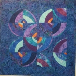 Blue Purple Wonky Circles Art Quilt