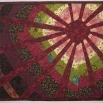 Art Quilt Maroon Sun