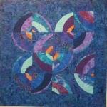 Blue Purple Wonky Circles Art Quilt