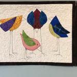 CUSTOM triptych of silly birds