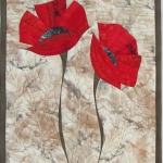 Two Red Poppies on Cream 2