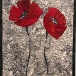 Two red poppies on grey 2