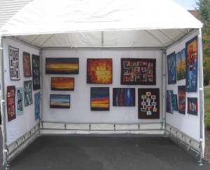 #4:  BOOTH PHOTO; Sharon Koppel; Art Quilts By Sharon.
